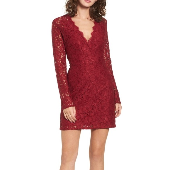 54bc5ac1fe Wayf Dresses | Nordstrom Red Lace Mini Dress Long Sleeves | Poshmark